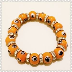 Egyptian Evil Eye Beaded Lampwork Glass Bracelet
